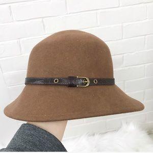 {Nine West} Brown 100% Wool Hat
